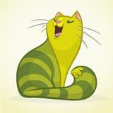 导航一只绿色和肥胖唱歌猫的例证 肥胖镶边猫动画片 免版税库存照片