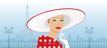 一个大帽子的减速火箭的夫人 免版税图库摄影