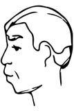 导航一名成年男性的面孔的剪影 免版税库存照片