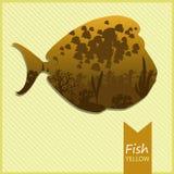 导航一条鱼的图象在黄色背景的 库存图片