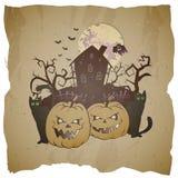 导航万圣夜例证用咧嘴笑的南瓜、被放弃的房子和鬼魂 向量例证