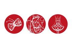 导航上帝希瓦、上帝在红色的希瓦孤立特里苏尔和Damaru的例证  略写法 免版税库存照片
