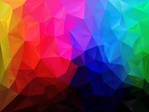 导航与一个三角样式的不规则的多角形背景在与深黑色底部的多彩虹光谱颜色 免版税图库摄影