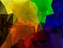 导航与一个三角样式的不规则的多角形背景在充分的光谱彩虹颜色 免版税库存图片