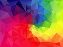 导航与一个三角样式的不规则的多角形背景在完整色彩的光谱彩虹 库存照片