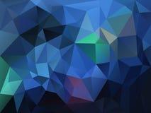 导航与一个三角样式的不规则的多角形背景在海蓝色,绿松石,绿色和紫色颜色 向量例证