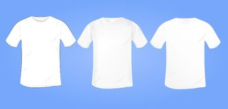 导航与一个圆的衣领的白色空白的T恤杉大模型在diffe 图库摄影