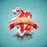 导航与丝带的新年快乐2014设计在印刷背景 免版税库存图片