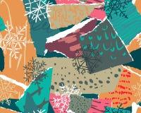导航与五颜六色的抽象拼贴画纹理和假日元素的圣诞节无缝的样式 皇族释放例证