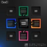 导航与五颜六色的正方形的infographic设计在黑背景 免版税库存照片