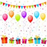 导航与五颜六色的气球、旗子和礼物的党背景 向量例证