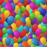 导航与五颜六色的气球的欢乐无缝的样式背景 模板为包裹纸、礼品券和假日 皇族释放例证
