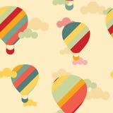 导航与五颜六色的热空气气球的无缝的样式 免版税库存照片