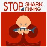 导航与人顶头吃鲨鱼的标志海报 免版税库存照片