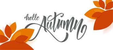 导航与你好秋天手写的刷子字法的贺卡并且落在白色背景的叶子 图库摄影