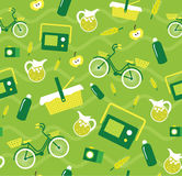 导航与元素的创造性的无缝的野餐样式骑自行车,柠檬水,野餐篮子,瓶子 免版税库存照片