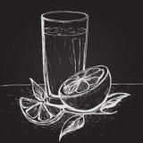 导航与切片的手拉的汁液桔子和叶子在黑板 免版税库存图片