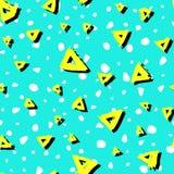 导航与刷子三角黄色白色黑颜色的无缝的样式在蓝色背景 手画农庄纹理 库存图片