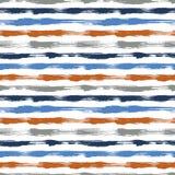 导航与刷子条纹和冲程的无缝的样式 在白色背景的蓝色橙色颜色 手画农庄 库存例证