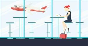 导航与单独坐和等待在机场咖啡馆的少妇的例证 免版税库存图片