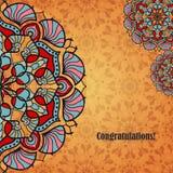 导航与印地安或阿拉伯民间装饰品的贺卡 与文本和坛场样式的祝贺的背景 库存照片