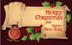 导航与古色古香的纸卷的背景圣诞节和新年 库存照片