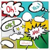 导航与各种各样的讲话泡影的典型的漫画书页 免版税库存图片