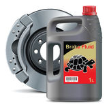 导航与圆盘制动器生物剂量油传染媒介的制动液 图库摄影