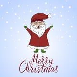 导航与圣诞老人和手字法的圣诞卡 库存图片