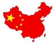 导航与在白色隔绝的国旗的中国地图 皇族释放例证