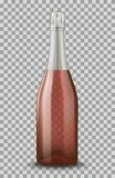 导航与在透明背景隔绝的银色闭合的香宾瓶的现实桃红色 大模型模板空白为 库存照片