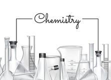 导航与地方的背景文本和化学制品实验室玻璃管的 库存例证