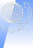 导航与地球和飞机的背景与空气或旅行题目的飞行物的 免版税库存照片