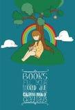导航与坐在树和阅读书下的逗人喜爱的女孩的例证和教育刺激在上写字关于书和ho 图库摄影