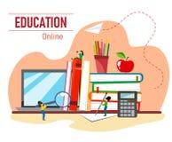 导航与堆的例证书、苹果、膝上型计算机和字符教育的 平的样式例证 库存例证