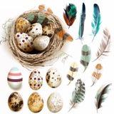 导航与复活节彩蛋鸟巢羽毛的汇集在葡萄酒 免版税库存照片