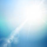 导航与夏天太阳和透镜火光的抽象背景 库存图片