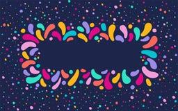 导航与多色下落的装饰品的欢乐长方形框架 对狂欢节节日设计,题材爱,孩子 库存例证