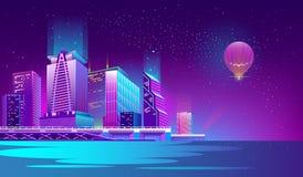 导航与夜城市的背景霓虹灯的 向量例证