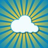 传染媒介太阳光芒和云彩。 免版税库存照片