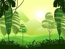 导航与山,森林,湖的逗人喜爱的平的风景并且覆盖例证 超现实主义动画片样式 库存例证