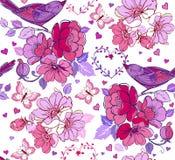 导航与心脏和紫色鸟的无缝的样式 装饰 库存照片
