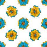 导航与手拉的乱画元素的花卉五颜六色的无缝的样式 皇族释放例证