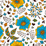 导航与手拉的乱画元素的花卉五颜六色的无缝的样式 免版税图库摄影