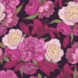 导航与手拉的桃红色和白色牡丹,红色百合的花卉无缝的样式 免版税库存照片