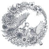 导航与手拉的菊花花和两只鸟的花圈 库存图片
