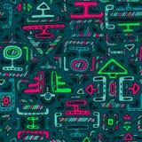 导航与手拉的霓虹颜色装饰品玛雅人的无缝的样式 图库摄影