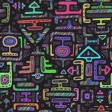 导航与手拉的霓虹颜色装饰品玛雅人的无缝的样式 免版税库存照片