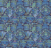 导航与手拉的颜色装饰品玛雅人的无缝的样式 库存图片