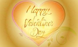 导航与抽象心脏和花的情人节背景 免版税库存照片